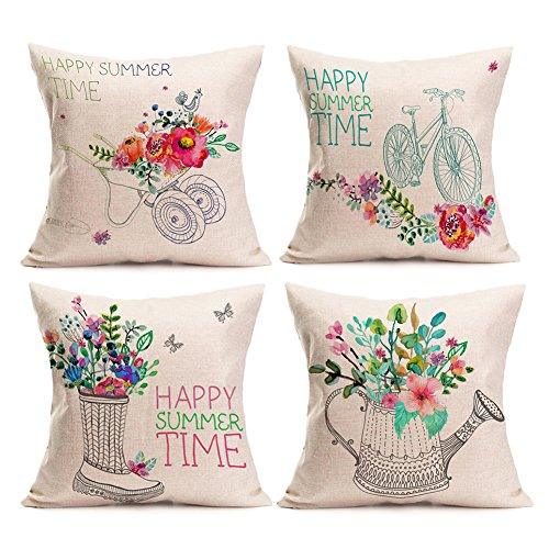 Pillow Checkered (Kithomer Happy Summer Time with Floral Bicycle Farmhouse Outdoor Throw Pillow Cover Cotton Linen Pillow Case Home Decor Cushion Cover for Sofa Couch 18 x 18 Inch (Set of 4, 18 x 18))