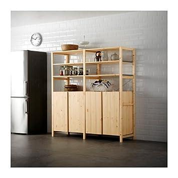 IKEA 2 sección estantería w/armario, pino, 68 1/2 x 19