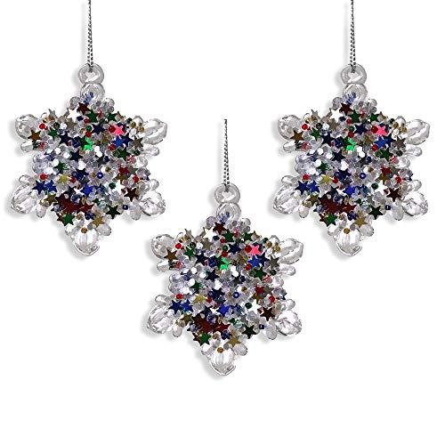 BANBERRY DESIGNS Glass Snowflakes - Set of 3 Spun Glass Snowflakes with Confetti Glitter - Snowflake Decorations - Hanging Snowflake Ornaments (Glass Spun Tree Ornament)