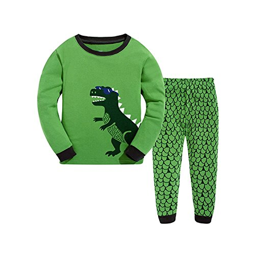 Boys Pajamas Dinosaur 2 Piece Kids Pjs Sets 100% Cotton Toddler Sleepwears