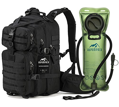 RUPUMPACK Military Tactical Backpack Hydration Backpack with 2.5L Water Bladder, Army MOLLE Bug Out Bag, Small 3-Day Rucksack for Outdoor Hiking Camping Trekking Hunting School Daypack, 33L