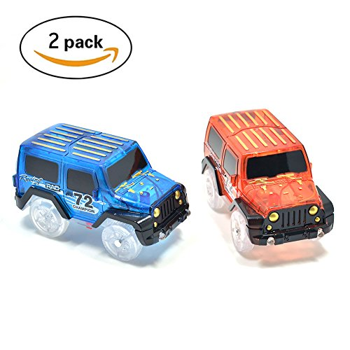 Magic Tracks Cars Only Replacement Toy Cars Glow in the Dark Racing Track Accessories Compatible with Most Tracks for Kids (2Pack)