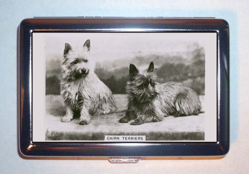 Cairn Terrier Business Card Holder (1939 Cairn Terriers Great Retro Photograph Stainless Steel ID or Cigarettes Case (King Size or 100mm))
