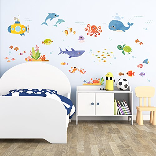 Decowall-DAT-1611-Sea-Adventure-Peel-and-Stick-Nursery-Kids-Wall-Decals-Stickers