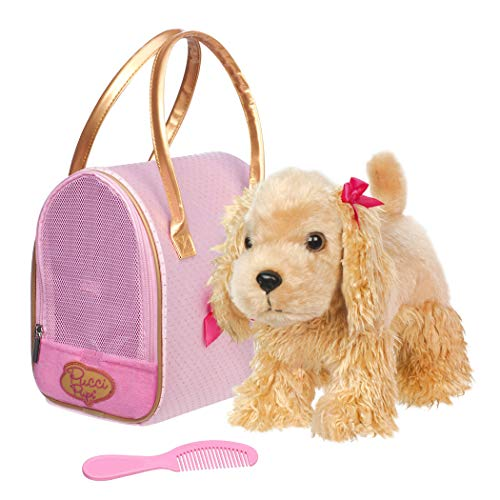 Pucci Pups by Battat - Cocker Spaniel Stuffed Puppy with Pink and Gold Dotted Stuffed Animal Bag