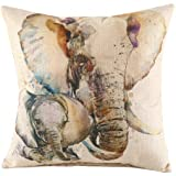 Wenmei Light Linen Square Decorative Throw Pillow Case Cushion Cover Throw Pillows Mother & Baby Elephant 18in X 18in One Side Printed