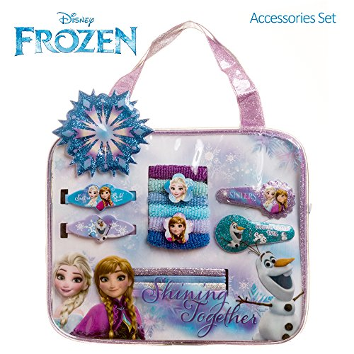 Disney Frozen Girls Bag Hair Accessories Set Barrettes Clips Elastics Terries