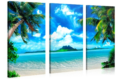 - Large Canvas Print Wall Art - CARIBBEAN ISLAND - 48x30 in (3 pcs) Beach Landscape Canvas Picture Stretched On A Wooden Frame - Giclee Canvas Printing - Hanging Wall Deco Picture / e3137