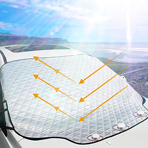 OASMU Car Windshield Sun Shade Cover Magnetic Edges,4-Layer Car Sunshade Visor Protector Keep Cool Summer Sun Shade Winter Snow ice for Cars Trucks Vans and SUVs (61.8in49.6in)