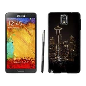 Fashionable Custom Designed Samsung Galaxy Note 3 N900A N900V N900P N900T Phone Case With Seattle Space Needle Night City Skyline_Black Phone Case