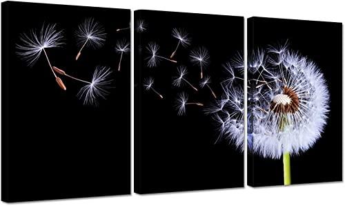 iHAPPYWALL Large 3 Piece Dandelion Canvas Wall Art Black and White Fluttering Dandelion Nature Flower Picture Print