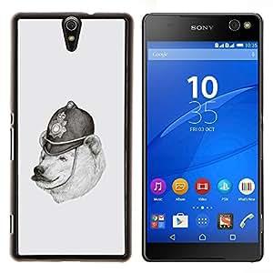 - WHITE BLACK POLAR POLICE PENCIL DRAWING BEAR - Caja del tel¨¦fono delgado Guardia Armor- For Sony Xperia C5 Ultra Devil Case