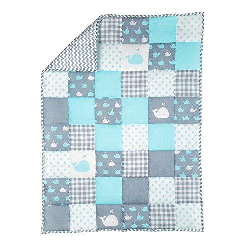 Plush Blue Toddler Blanket - Soft Cot Comforter for Boys and Girls Pure Cotton Baby Cradle Quilt (Boy Baby Quilt)