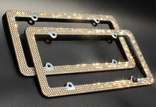eing 2 PCS Car License Plate Frames with Bling Crystal Diamonds + 2 Pack Bonus Matching Screws Accessories,Gold