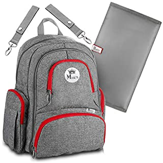 Baby Diaper Bag Backpack with YKK Zippers for Girls and Boys, Large Waterproof Diaper Backpack Organizer with Stroller Straps,Baby Wipes Pocket and Infant Changing Pad, Perfect Baby Shower Gift