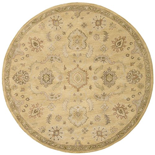Nourison Jaipur (JA54) Light Gold Round Area Rug, 6-Feet by 6-Feet  (6' x 6')