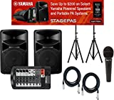 Yamaha STAGEPAS 400I Portable PA System w/ Speaker Stands, Microphone, and (2) XLR Cables