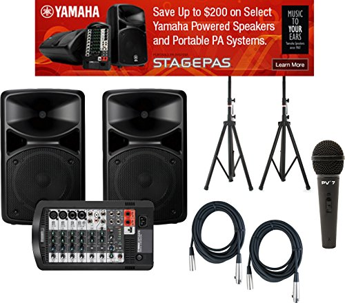 Yamaha STAGEPAS 400I Portable PA System w/ Speaker Stands, Microphone, and (2) XLR Cables by Yamaha