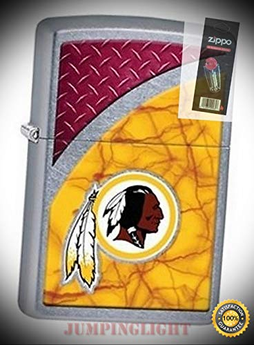 29382 Washington Redskins NFL Street Chrome Finish Lighter with Flint Pack - Premium Lighter Fluid (Comes Unfilled) - Made in USA!