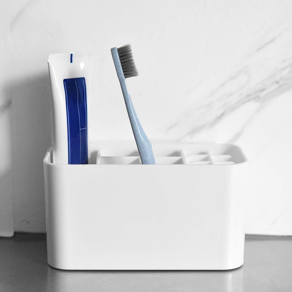 irich auto-adhesivos para cepillo de dientes con silicona gel Stickers & dispensador, sin agujeros pared plástico baño Caddy para pasta de dientes Cepillos ...