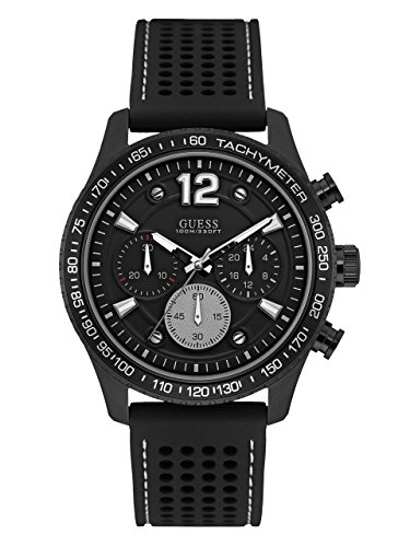 GUESS Men's Perforated Silicone Casual Watch, Color: Black (Model: U0971G1) - Guess Gc Men Watch