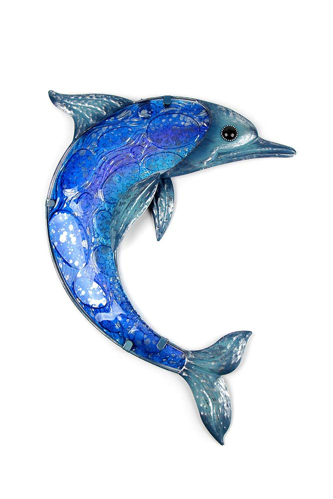 Liffy Metal Dolphin Wall Art Outdoor Sea Decor Hanging Decorative Glass Sculpture Blue by Liffy