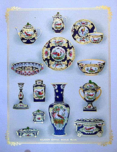 old-print Print Silicon China Scale Blue Teapot Vase Lidded Vessels Dish 1911 ()