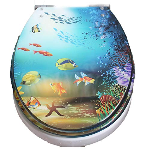 Universal Resin Anti-Bacterial Toilet Seat Cover with Underwater World Painting Pattern Soft Close Easy Quick Release Hinges in Bathroom,A