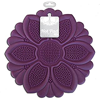 Talisman Designs No-Slip Grip Hot Pad, Purple, Pot Holder, Spoon Rest, Jar Opener and Trivet, BPA-free Silicone