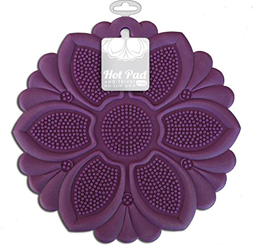 - Talisman Designs No-Slip Grip Hot Pad, Purple, Pot Holder, Spoon Rest, Jar Opener and Trivet, BPA-free Silicone