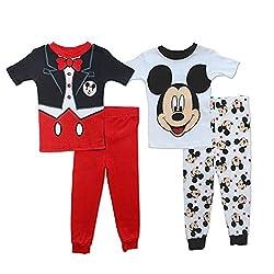 Disney Little Boys' Mickey Mouse Mr. Mouse 4 Piece Pajama Set, Multi, 2T
