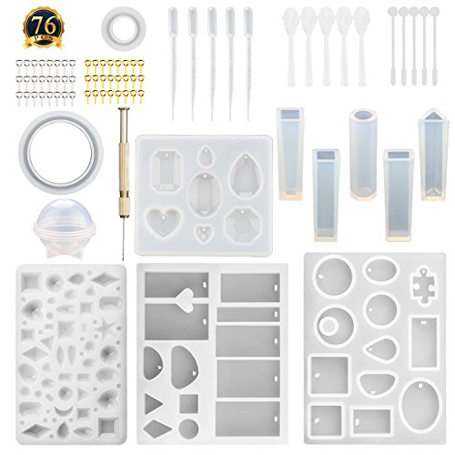 SUBANG 12 Pack Jewelry Casting Molds Silicone Resin Jewelry Molds with 48 Screw Eye Pins, 5 Plastic Stirrers, 5 Plastic Spoons, 5 Plastic Droppers and 1 Hand Twist Drill by SUBANG