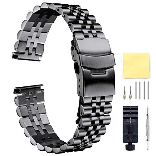 BINLUN Stainless Steel Watch Bands Replacement Metal Watch Straps Bracelet with Butterfly Clasp with Safety Security in Black, Silver 18mm 20mm 22mm 24mm - Bracelet Strap Double Watch