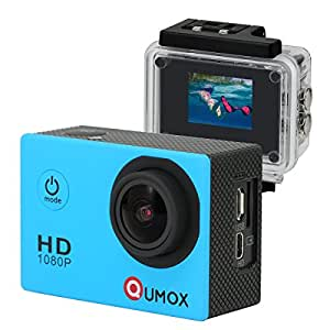 QUMOX SJ4000 - Cámara de deportes para casco Impermeable (12 MP, 1080p, HDMI), color azul