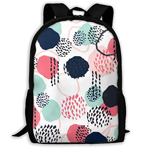 1809 Mint - Backpack Water Resistant Men Women Hiking Daypack Abstract Expression Dots (Larger Scale) Blush Coral Mint Navy Painted Painterly Kids_1809 Travel Backpack