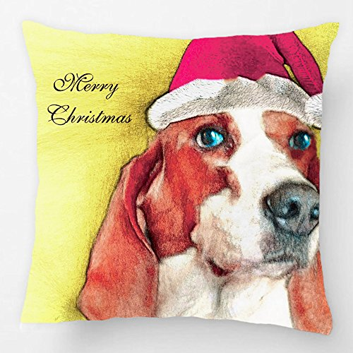ALEX Throw Pillow Case Decorative Cushion Cover Cotton Polyester Sofa Chair Seat Square Pillowcase Design With Christmas Basset Hound Pillow Custom Pillow Case Print Double Side Sized 20X20 Inches (Car Seat Covers The Beatles compare prices)