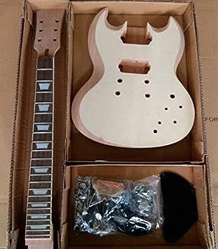 gd590 Hazlo tú mismo Guitarra Eléctrica Kit Set En Caoba Cuerpo Flameado CHAPA Ébano diapasón hueso
