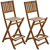 Festnight Patio Outdoor Folding Bar Chairs, Acacia Wood Bar Stool ,Set of 2