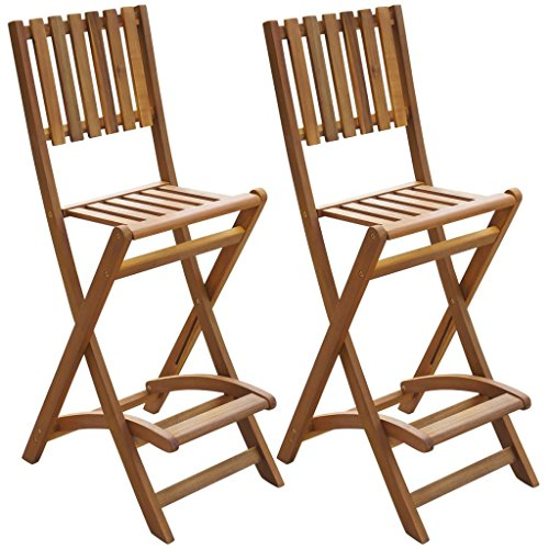 Festnight Patio Outdoor Folding Bar Chairs, Acacia Wood Bar Stool ,Set Of 2  By