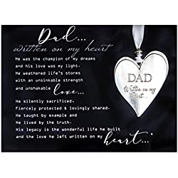 Dad Pewter Memorial Heart Boxed Gift Ornament with Sentimental Poem