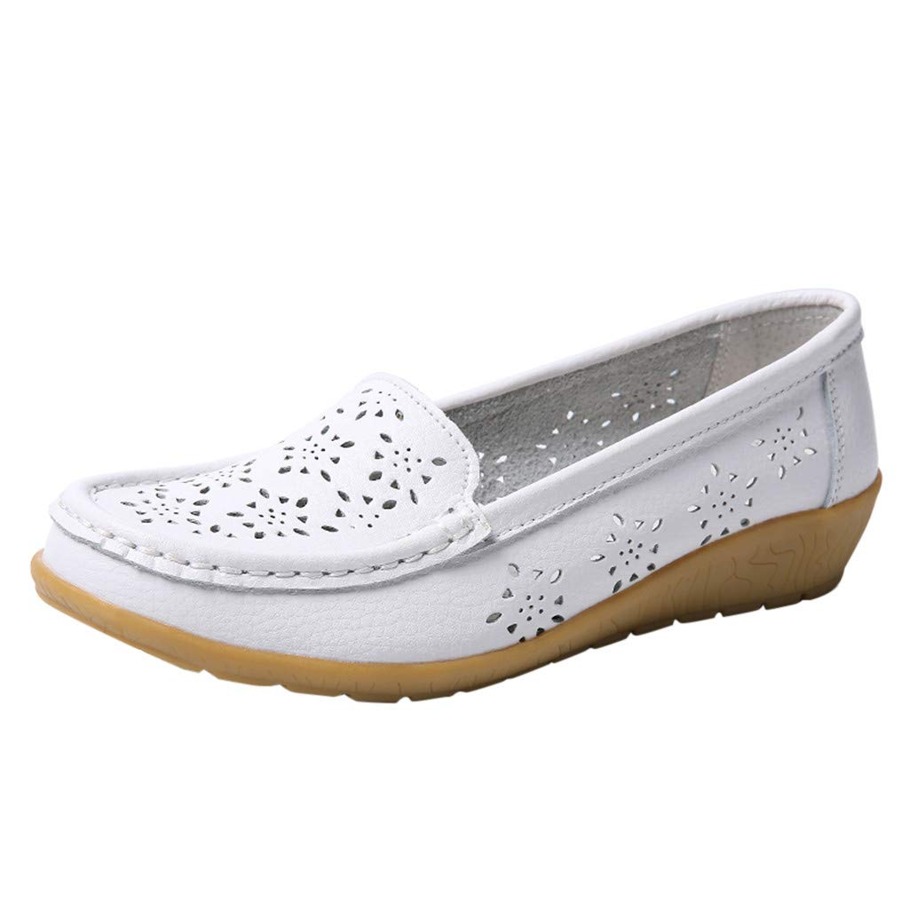✔ Hypothesis_X ☎ Women's Classic Penny Loafers Driving Moccasins Casual Slip On Boat Shoes Fashion Comfort Flats White