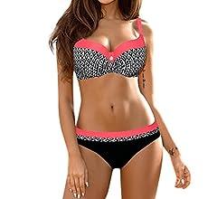 LMMVP Bikinis Mujer,Las Mujeres empujan hacia Arriba el Sujetador con Relleno Bandeau de Cintura Baja Bikini Traje de baño más el tamaño (XL, Gris)