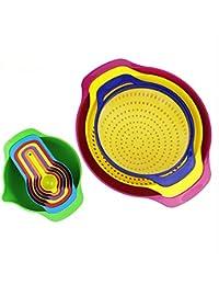 Gain 10Pcs Rainbow Kitchen Baking Set Tools, AnsTOP Versatile Measuring Set Multi-Color Mixing Bowl Creative Kitchen... discount