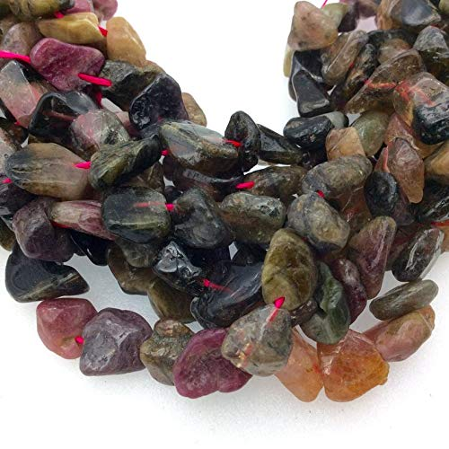 10mm -15mm Tourmaline Freeform Nugget Beads - 14.5 Strand (~ 47 Beads) - Measuring 7-8mm - Natural Semi-Precious Gemstone - Sold by Strands