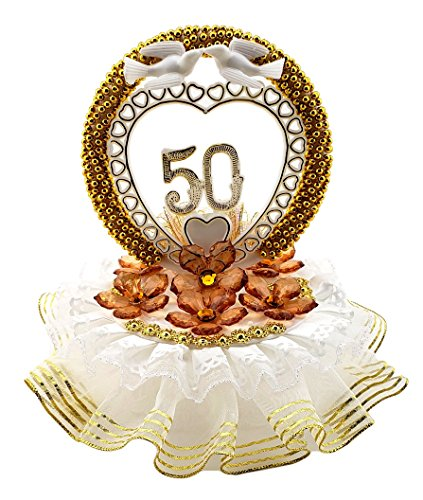 50th Anniversary Cake Top Crystal Like Flowers and Gold Circle Decorated in Gold and Ivory 7