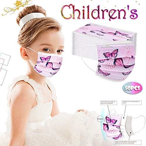 [US Stock] Kids Disposable Face Mask 3 Ply 50pcs Cute Print Masks for Kids Child Disposable Breathable by MASZONE