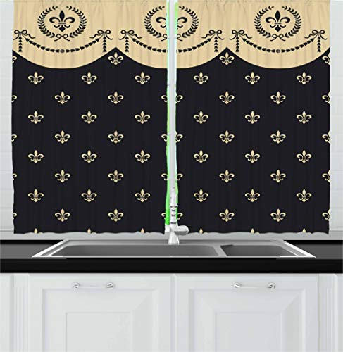 Ambesonne French Kitchen Curtains, Pattern of Fleur de Lis Ancient Symbol Illustration Baroque Inspired Print, Window Drapes 2 Panel Set for Kitchen Cafe, 55 W X 39 L Inches, Charcoal Grey Ivory Charcoal Fleur De Lis
