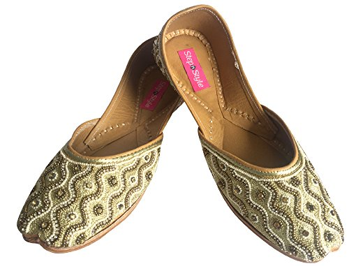 Step n Style Mujer Zapatos de Khussa Punjabi jutti étnico mojari plana Bailarina Zapatos de novia marrón - cobre