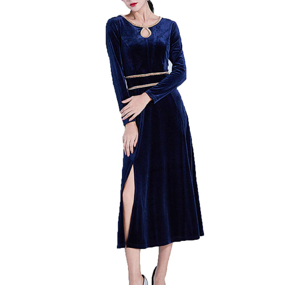 bluee Haiyugua Womens Elegant Ruched Velvet Long Dress Modern Style Evening Cocktail Formal Gowns