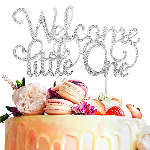 Welcome Little One Rhinestone Crystal Silver Metal Cake Topper Sweet Baby Shower Party Decoration Keepsake Gift - 5.9'' x 8.3''(Silver).]()